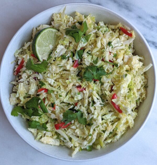 bowl of cilantro lime slaw