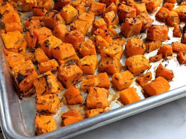 roasted squash on sheet pan